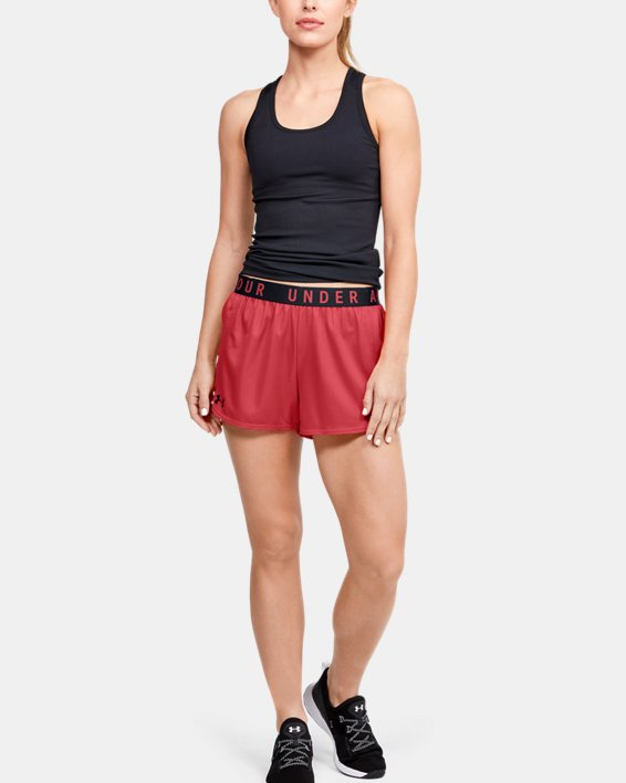 Women's UA Play Up Metallic Shorts, Orange, pdpMainDesktop image number 0