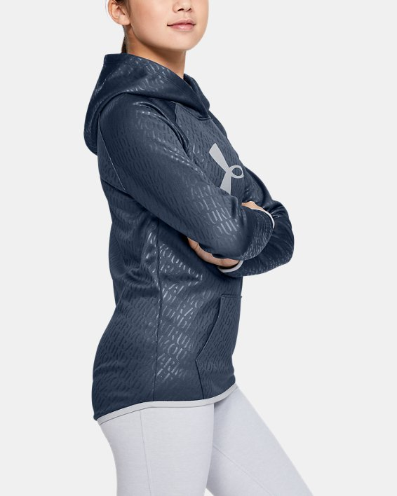 Girls' Armour Fleece® Emboss Hoodie, Gray, pdpMainDesktop image number 3