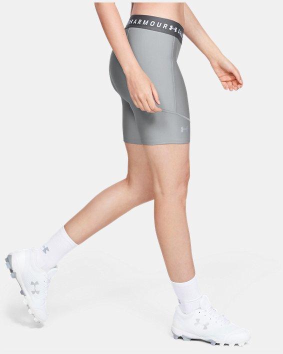 Women's UA Softball Slider Shorts, Gray, pdpMainDesktop image number 0