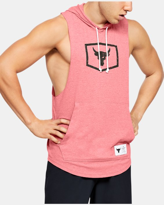 Men's Project Rock Sleeveless Hoodie, Red, pdpMainDesktop image number 2