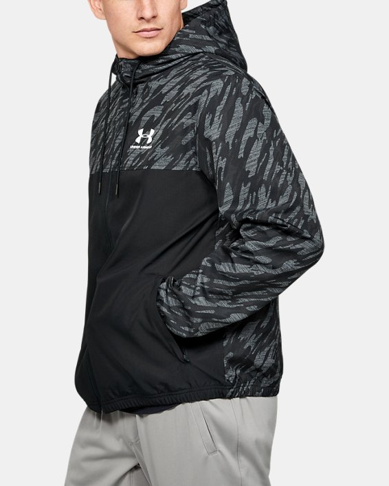 Men's UA Sportstyle Windbreaker Jacket, Black, pdpMainDesktop image number 3