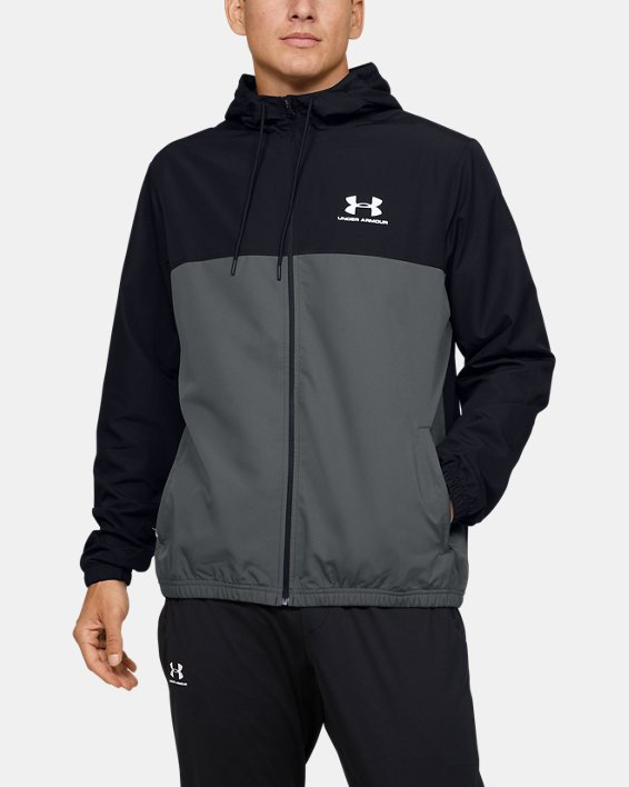Men's UA Sportstyle Windbreaker Jacket, Black, pdpMainDesktop image number 0
