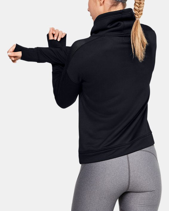 Women's UA Tech™ Terry Funnel Neck, Black, pdpMainDesktop image number 2