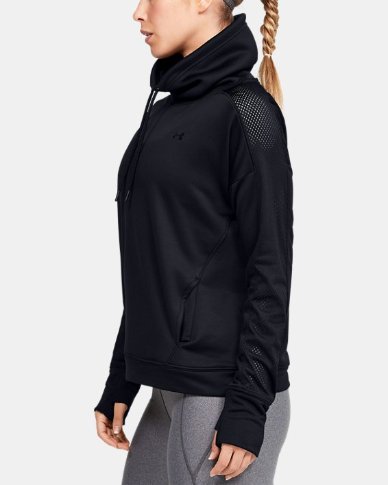 Women's UA Tech™ Terry Funnel Neck, Black, pdpMainDesktop image number 3