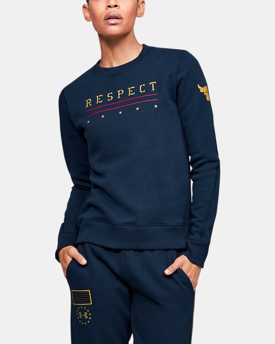 Women's UA Freedom x Project Rock Originators Fleece Crew, Navy, pdpMainDesktop image number 0