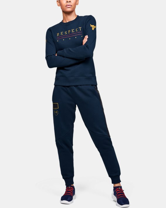Women's UA Freedom x Project Rock Originators Fleece Crew, Navy, pdpMainDesktop image number 1