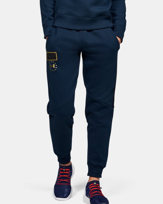 Women's UA Freedom x Project Rock Originators Fleece Pants, Navy, pdpMainDesktop image number 0