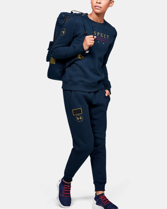Women's UA Freedom x Project Rock Originators Fleece Pants, Navy, pdpMainDesktop image number 1