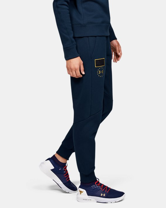 Women's UA Freedom x Project Rock Originators Fleece Pants, Navy, pdpMainDesktop image number 3