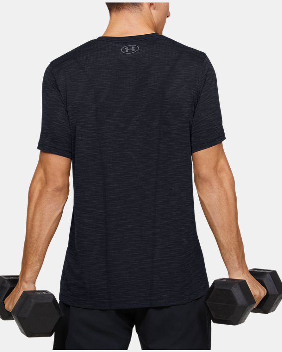 Men's UA Seamless Short Sleeve, Black, pdpMainDesktop image number 2