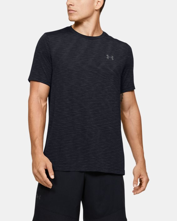 Men's UA Seamless Short Sleeve, Black, pdpMainDesktop image number 0
