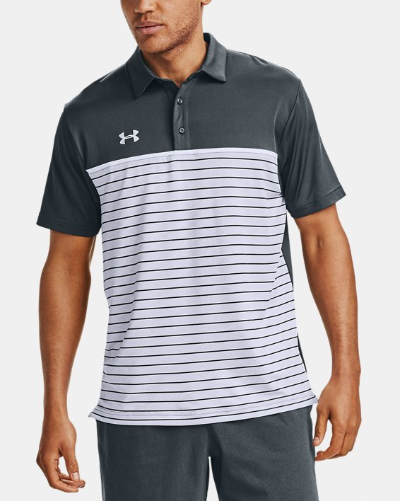 Men's UA Stripe Mix-Up Polo, Gray, pdpMainDesktop image number 0