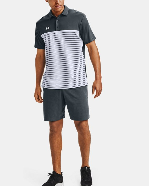 Men's UA Stripe Mix-Up Polo, Gray, pdpMainDesktop image number 1