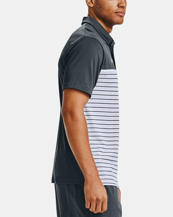 Men's UA Stripe Mix-Up Polo, Gray, pdpMainDesktop image number 3