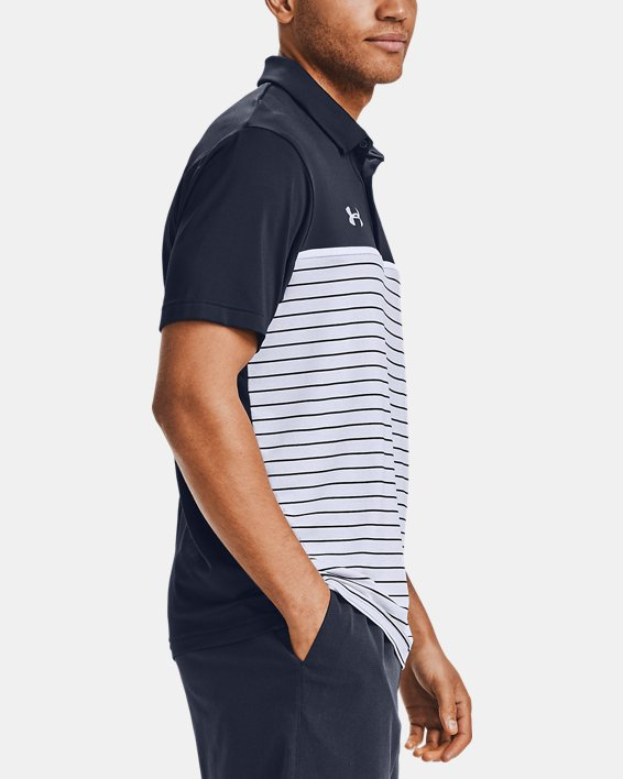 Men's UA Stripe Mix-Up Polo, Navy, pdpMainDesktop image number 3