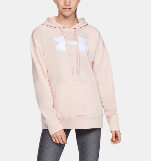 Women's Armour Fleece® Chenille Logo Hoodie, Apex Pink Light Heather, , Apex Pink Light Heather, Click to view full size
