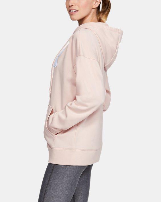 Women's Armour Fleece® Chenille Logo Hoodie, Pink, pdpMainDesktop image number 3