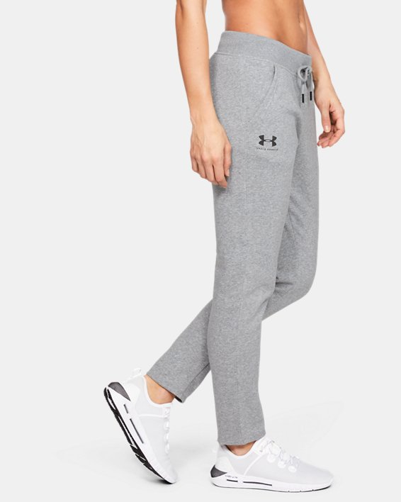 Women's UA Rival Fleece Open Hem Pants, Gray, pdpMainDesktop image number 3