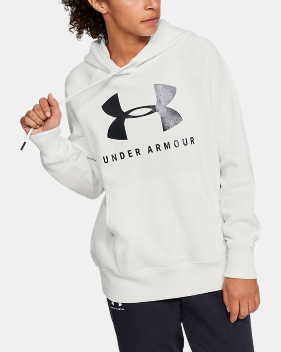 Women's UA Rival Fleece Sportstyle Graphic Hoodie, White, pdpMainDesktop image number 1