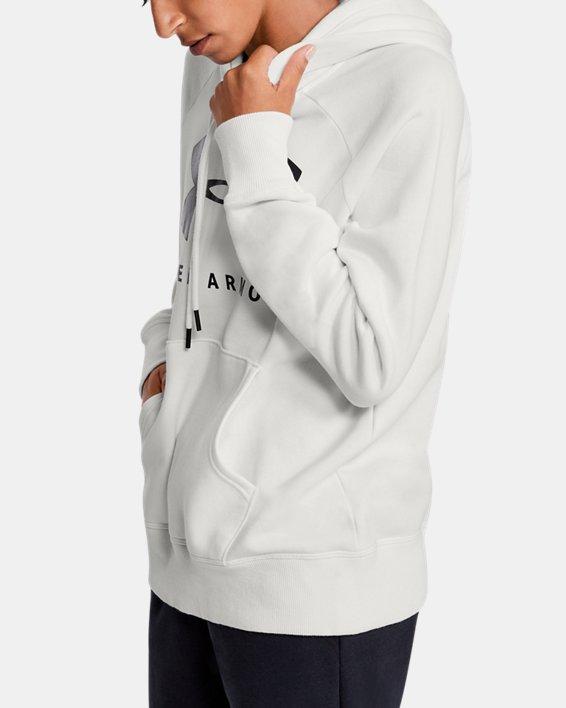 Women's UA Rival Fleece Sportstyle Graphic Hoodie, White, pdpMainDesktop image number 3
