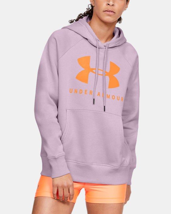 Women's UA Rival Fleece Sportstyle Graphic Hoodie, Pink, pdpMainDesktop image number 1