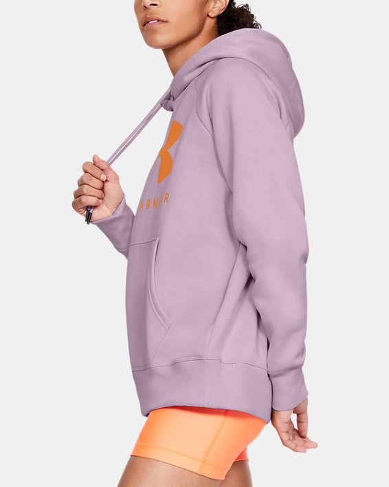Women's UA Rival Fleece Sportstyle Graphic Hoodie, Pink, pdpMainDesktop image number 3