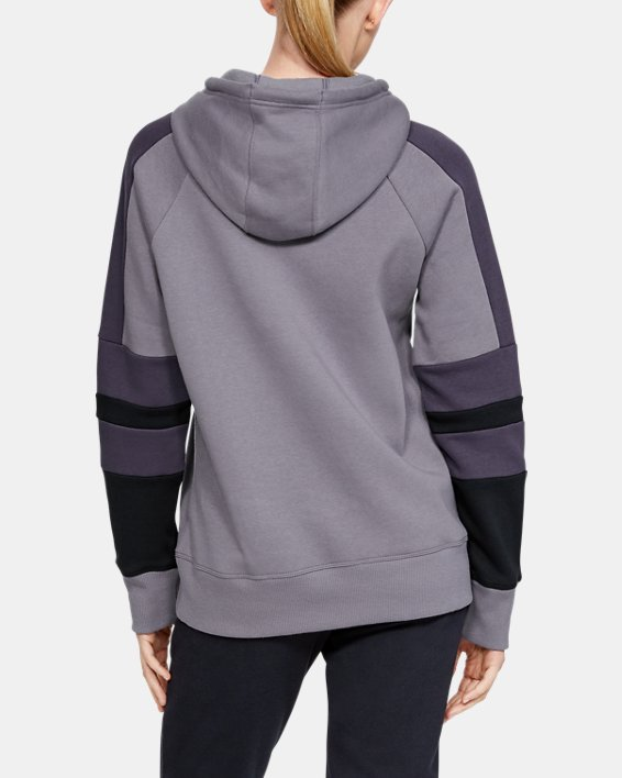 Women's UA Rival Fleece LC Logo Novelty Hoodie, Gray, pdpMainDesktop image number 2