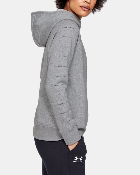 Women's UA Rival Fleece Sportstyle LC Sleeve Graphic Full Zip, Gray, pdpMainDesktop image number 3