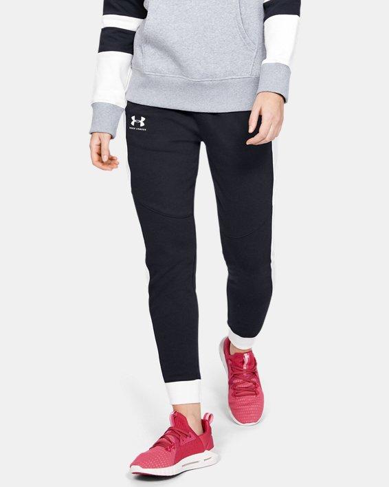 Women's UA Rival Fleece Graphic Novelty Pants, Black, pdpMainDesktop image number 0