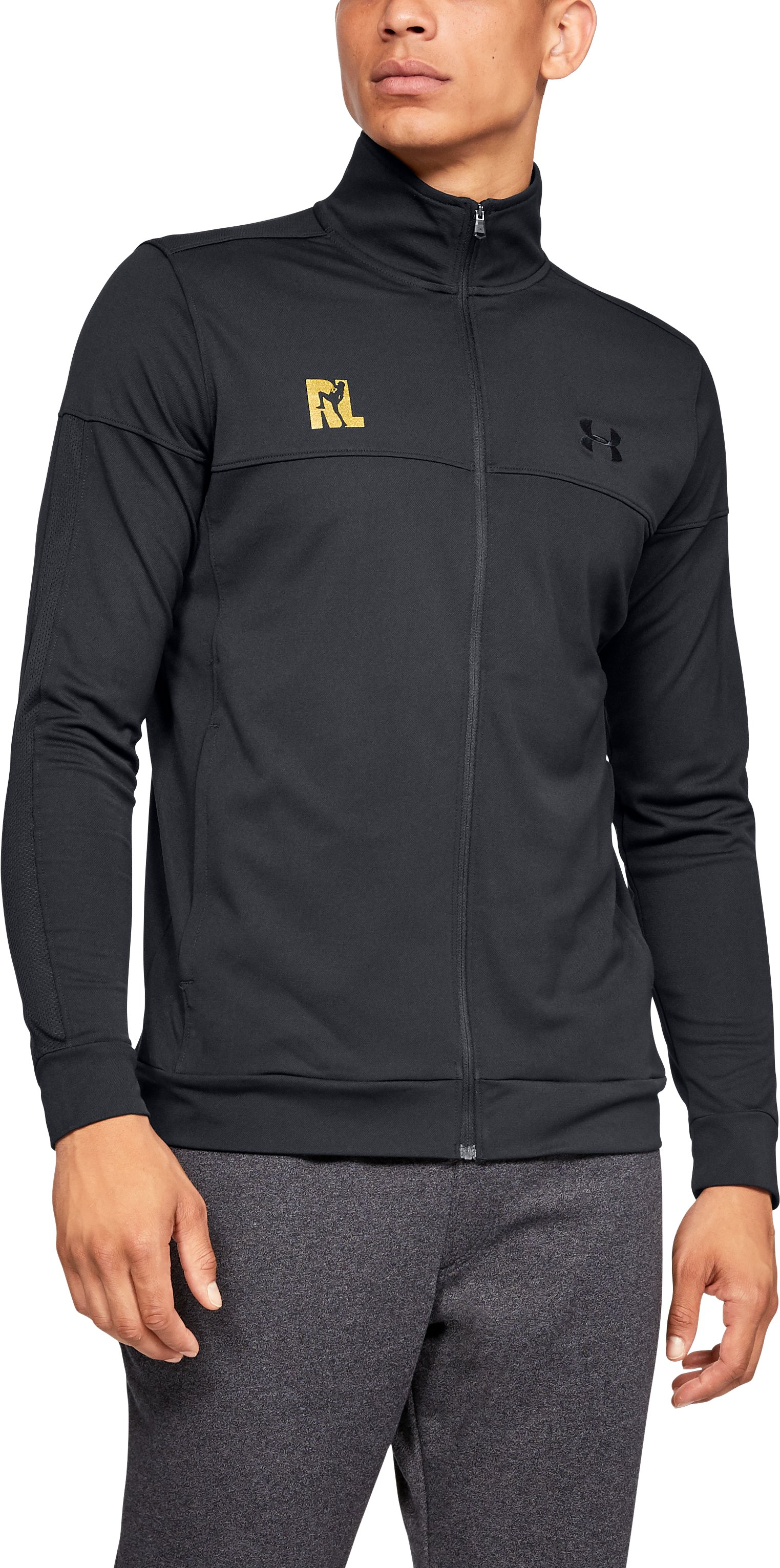 Men's UA Ray Lewis Pique Track Jacket, Black , zoomed