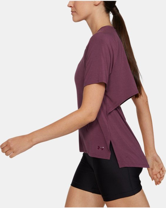 Women's UA Modal Short Sleeve, Purple, pdpMainDesktop image number 3
