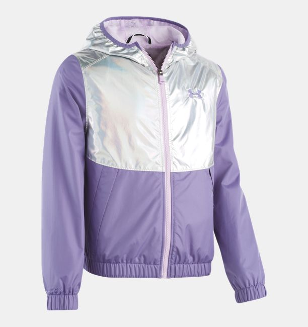 Under Armour Purple Luxe Rainbow Runner Windbreaker Jacket Youth Girls NEW