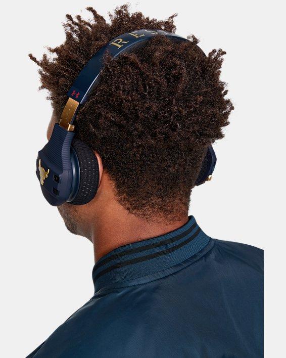 UA Sport Wireless Train Headphones — Project Rock Edition Camo, Navy, pdpMainDesktop image number 0