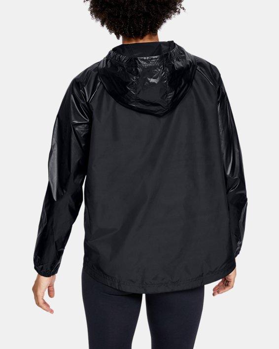 Women's UA Metallic Woven Full Zip, Black, pdpMainDesktop image number 2