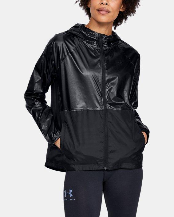 Women's UA Metallic Woven Full Zip, Black, pdpMainDesktop image number 0
