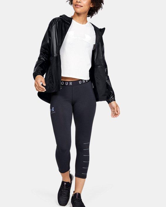 Women's UA Metallic Woven Full Zip, Black, pdpMainDesktop image number 1