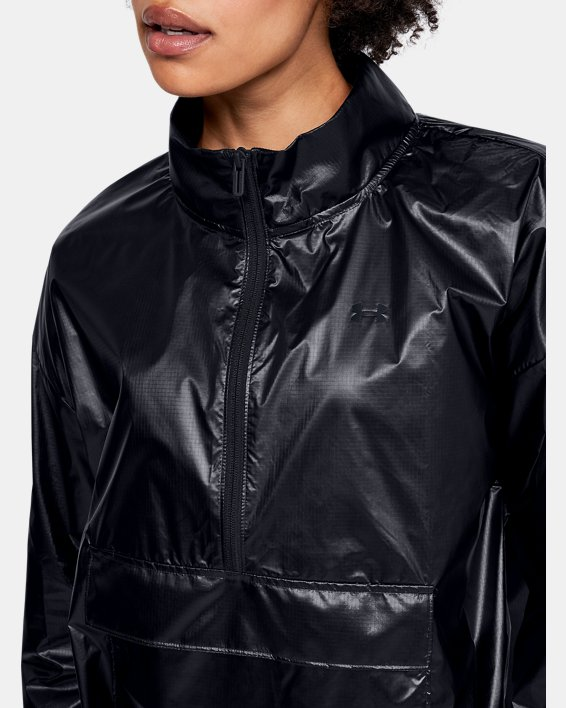 Women's UA Metallic Woven Anorak, Black, pdpMainDesktop image number 5