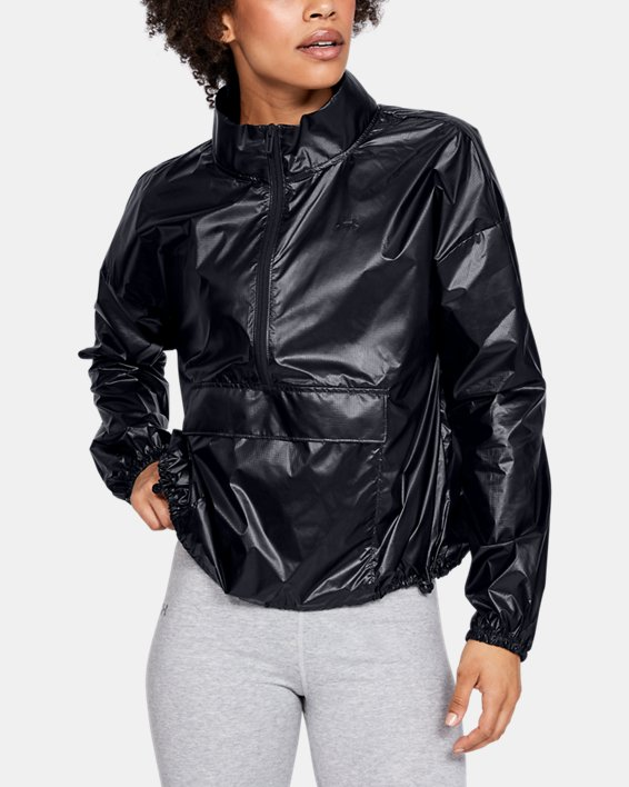 Women's UA Metallic Woven Anorak, Black, pdpMainDesktop image number 0