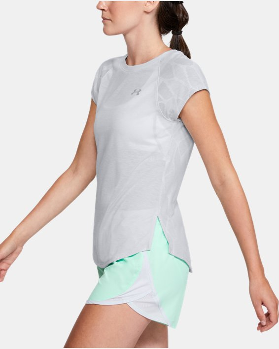 Women's UA Streaker 2.0 Shift Short Sleeve, Gray, pdpMainDesktop image number 3