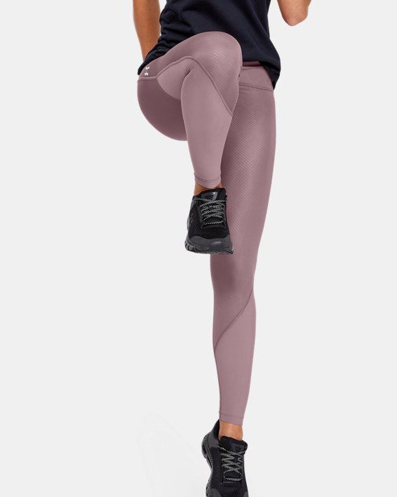 Women's UA Fly Fast Embossed Tights, Pink, pdpMainDesktop image number 1