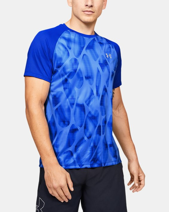 Men's UA Qualifier Iso-Chill Printed Run Short Sleeve, Blue, pdpMainDesktop image number 0