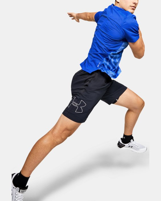 Men's UA Qualifier Iso-Chill Printed Run Short Sleeve, Blue, pdpMainDesktop image number 1