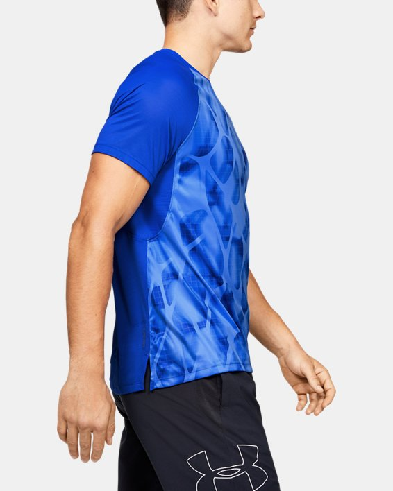 T-shirt à manches courtes UA Qualifier Iso-Chill Printed Run pour homme, Blue, pdpMainDesktop image number 3