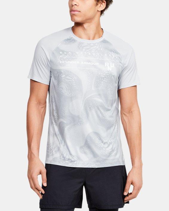 Men's UA Qualifier Iso-Chill Run Weightless Short Sleeve, Gray, pdpMainDesktop image number 0
