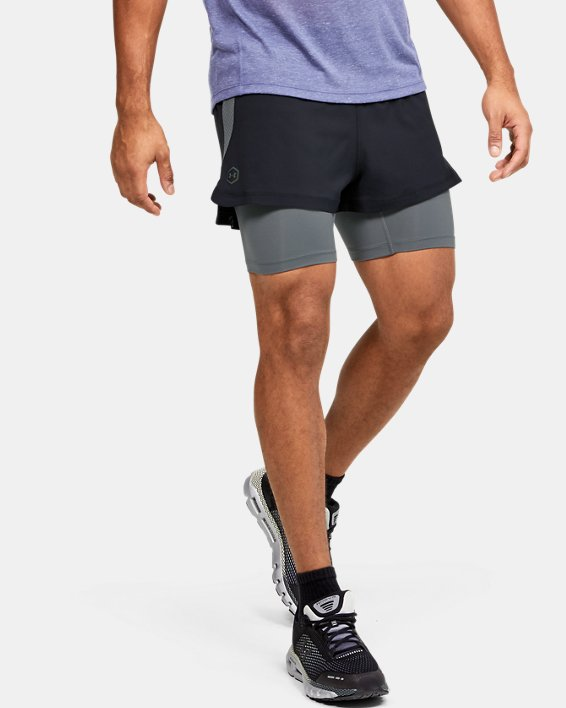 Men's UA RUSH™ Run 2-in-1 Shorts, Black, pdpMainDesktop image number 1