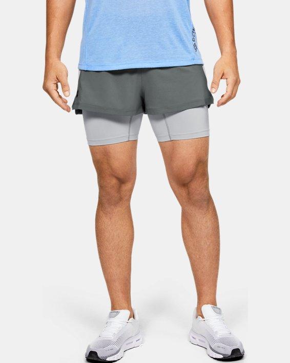 Men's UA RUSH™ Run 2-in-1 Shorts, Gray, pdpMainDesktop image number 1