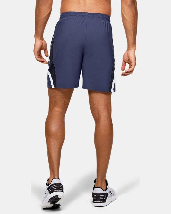 Men's UA Launch SW Branded 7'' Shorts, Blue, pdpMainDesktop image number 2