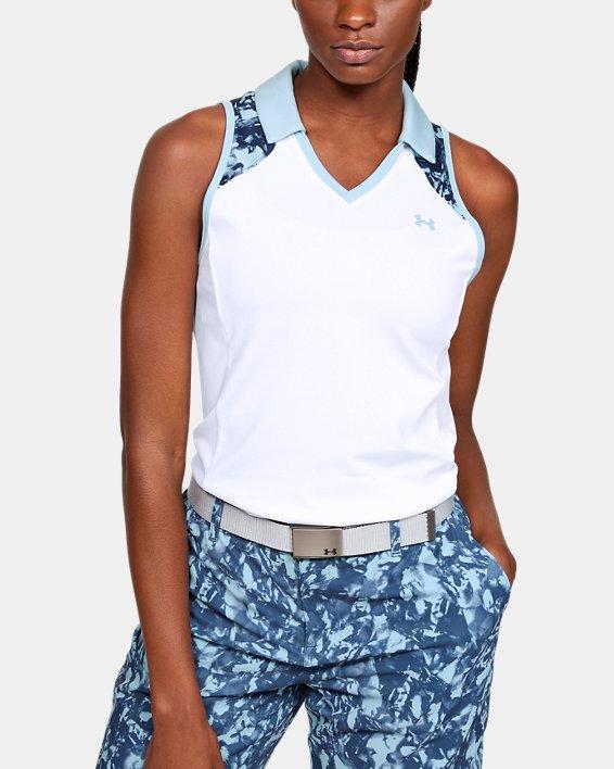 Women's UA Zinger Sleeveless Blocked Polo, White, pdpMainDesktop image number 0