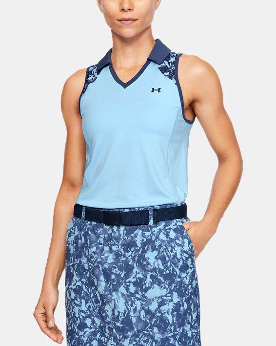 Women's UA Zinger Sleeveless Blocked Polo, Blue, pdpMainDesktop image number 0