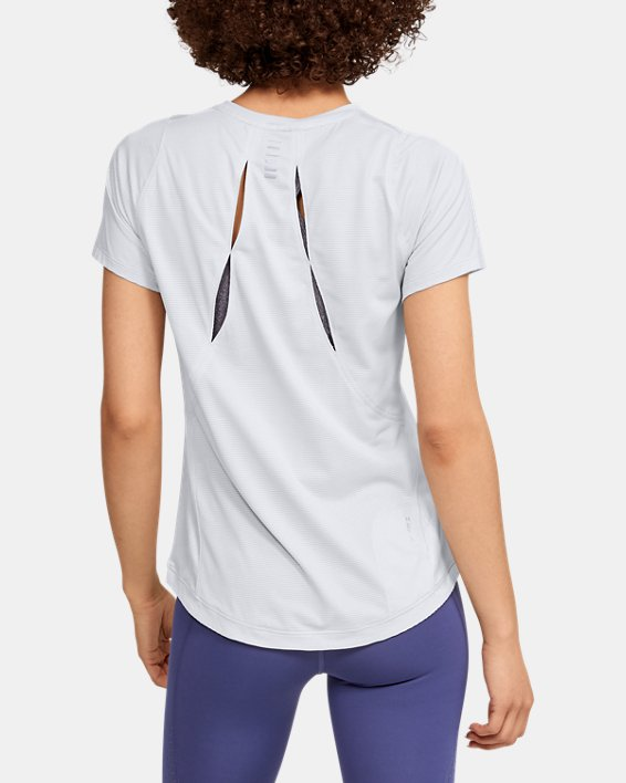 Women's UA Qualifier Iso-Chill Embossed Short Sleeve, Gray, pdpMainDesktop image number 2
